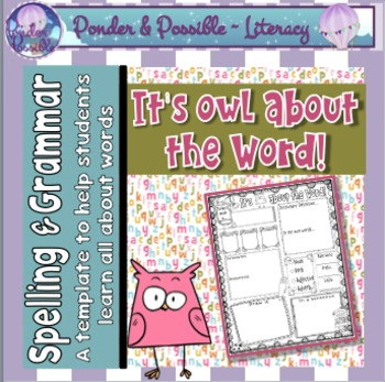 Word of the Day / Week Templates ~ 'It's Owl About the Word'
