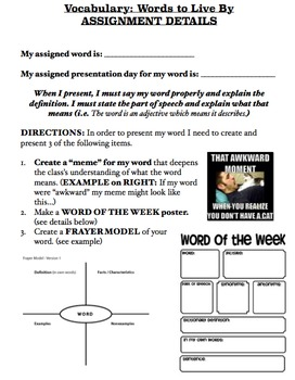 Spelling & Vocab - Word of the Day: Weekly Vocabulary Building Activity