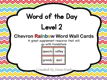Word of the Day Word Wall Cards- Level 2- Rainbow Chevron