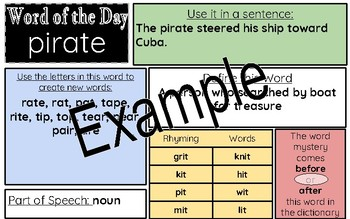 Word of the Day Word of the Week Printable or Online Manipulative