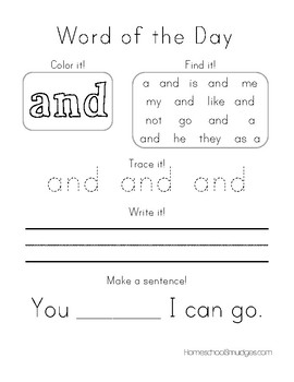 Word-of-the-Day Workbook, PrePrimer Sight Words