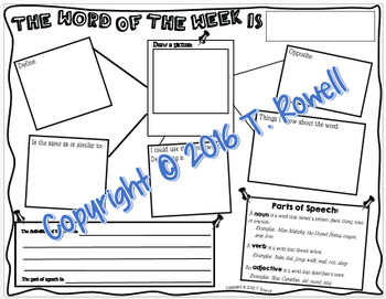 Word of the Day or Week Poster or Worksheet Activity