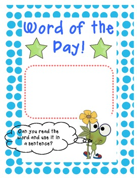 Word of the Day poster! Blue Polka Dot