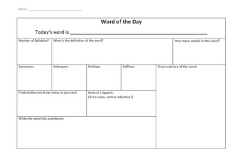 Word of the Day sheet