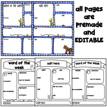 Word of the Week- Cowboy ~Editable