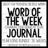 Word of the Week Character Education Journal - Weeks 1-18