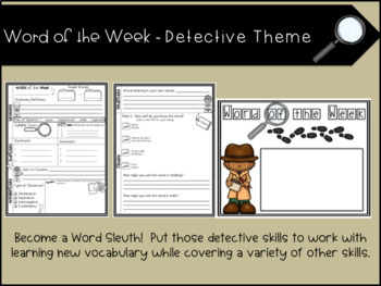 Word of the Week - Detective Theme with EDITABLE CARDS