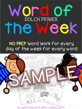 Word of the Week - Dolch Primer List SAMPLE {freebie}