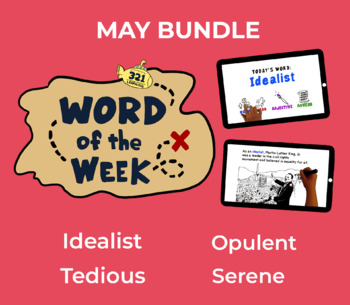Word of the Week MAY Vocabulary Bundle: 4 Words (videos, quizzes, activities)