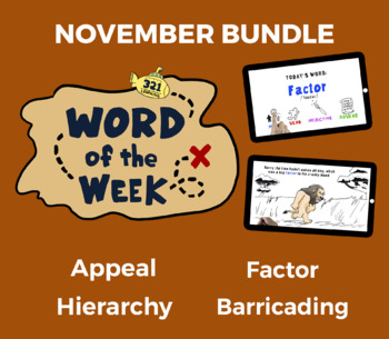 Word of the Week NOV Vocabulary Bundle: 4 Words (videos, quizzes, activities)