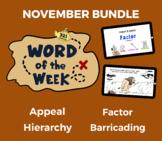 Word of the Week NOV Vocabulary Bundle: 4 Words (videos, q