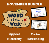 Word of the Week NOV Vocabulary Bundle: 4 Words (videos, q