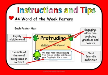 Word of the Week PPT Vocabulary for WHOLE YEAR+Class Games (Australian/ British)