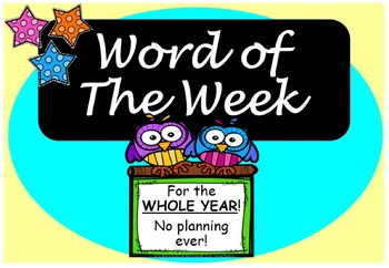 Word of the Week PPT Vocabulary for WHOLE YEAR+Class Games