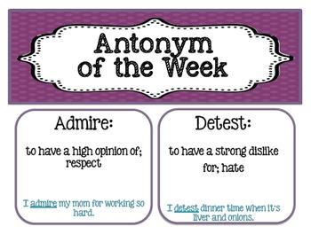 Word of the Week Package-Includes:Homophone-Synonym-Antonym-36 Weeks for EACH