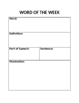 Word of the Week Response Template