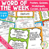 Word of the Week Unit {GRADES 2-4} Posters Worksheet Quizzes & more