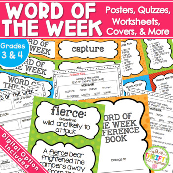 Word of the Week Unit {GRADES 2-4} Posters Worksheet Quizzes and more