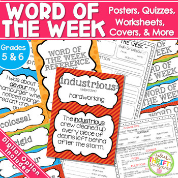 Word of the Week Unit {GRADES 4-6} Posters Worksheet Quizzes and more
