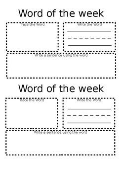 Word of the Week Worksheet