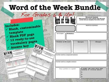 Word of the Week for Grades 6 and Up Bundle--editable