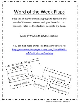 Word of the Week - Flaps for Journal - Interactive Reading Notebook