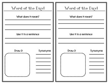 Word of the Day Student Sheet