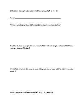 Word problems Inequalities worksheet