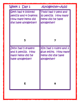 Word problems addition