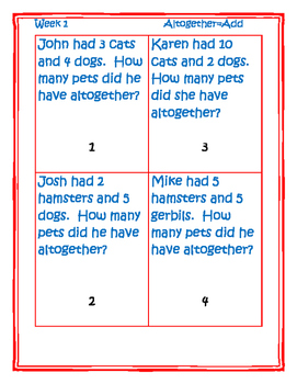 Word problems addition Clue Word altogether