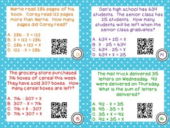 Word problems and Equations Match