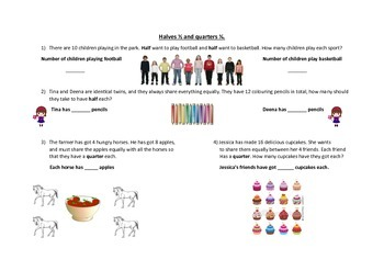 Word problems & images to fix HALF and QUARTER in students' minds