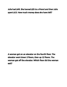 Word problems number sense 7th grade adding and subtracting integers