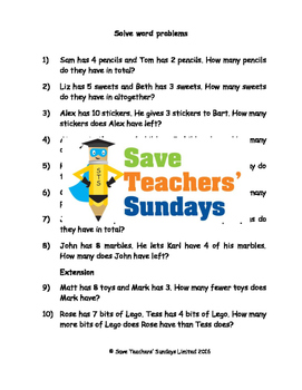Word problems worksheets (3 levels of difficulty)