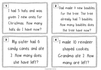 Word problems - Solving 1 step word problems. - Christmas and Winter theme
