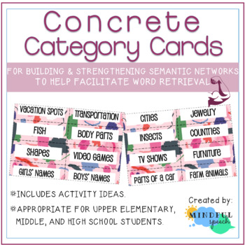 Word retrieval with concrete categories