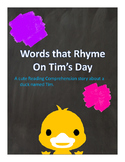 Word's That Rhyme On Tim's Day Reading Comprehension