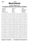 Word-search - 15 largest countries on the African Continent - A4