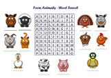 Word search - Farm animals