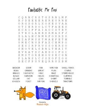 Wordsearch puzzle for Fantastic Mr Fox - Roald Dahl (30 words)