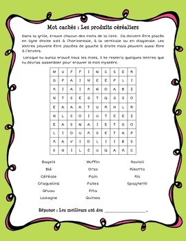 Word search puzzles (french) about food