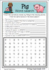 Farm Theme word search, crossword and word unscramble worksheets