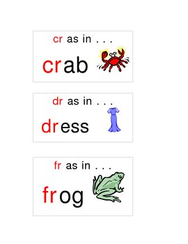 Word sort cards for blends to use in pocket chart