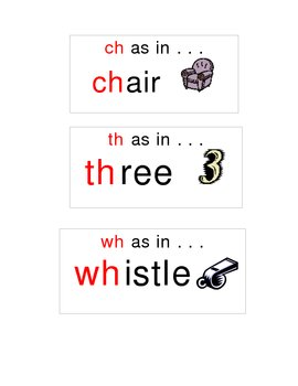 Word sort cards for digraphs to use in pocket chart