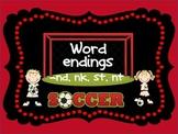 Word sort center for -nk -nd -st, nt endings