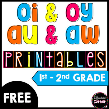 Vowel Digraph Oy Oi Aw Au Worksheets By Differentiation Corner