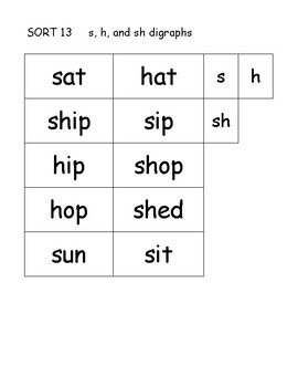 Word sorts to go with Words Their Way skills