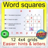 Word squares 4x4 with hints/letters BOOM distance learning