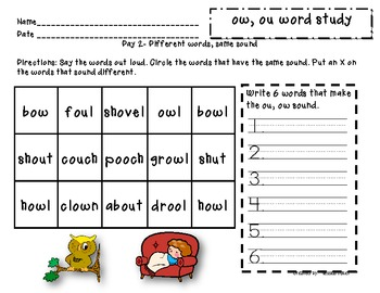 Word study packet - ou, ow