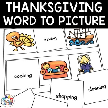 Thanksgiving Word Picture Matching